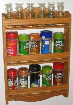 Oak Wall hung spice racks.