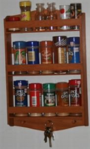 3 tier Red Elm wood spice rack. Handcrafted in Dave's pain spice rack design