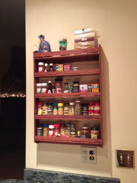 Large Cherry Wood Spice Rack.